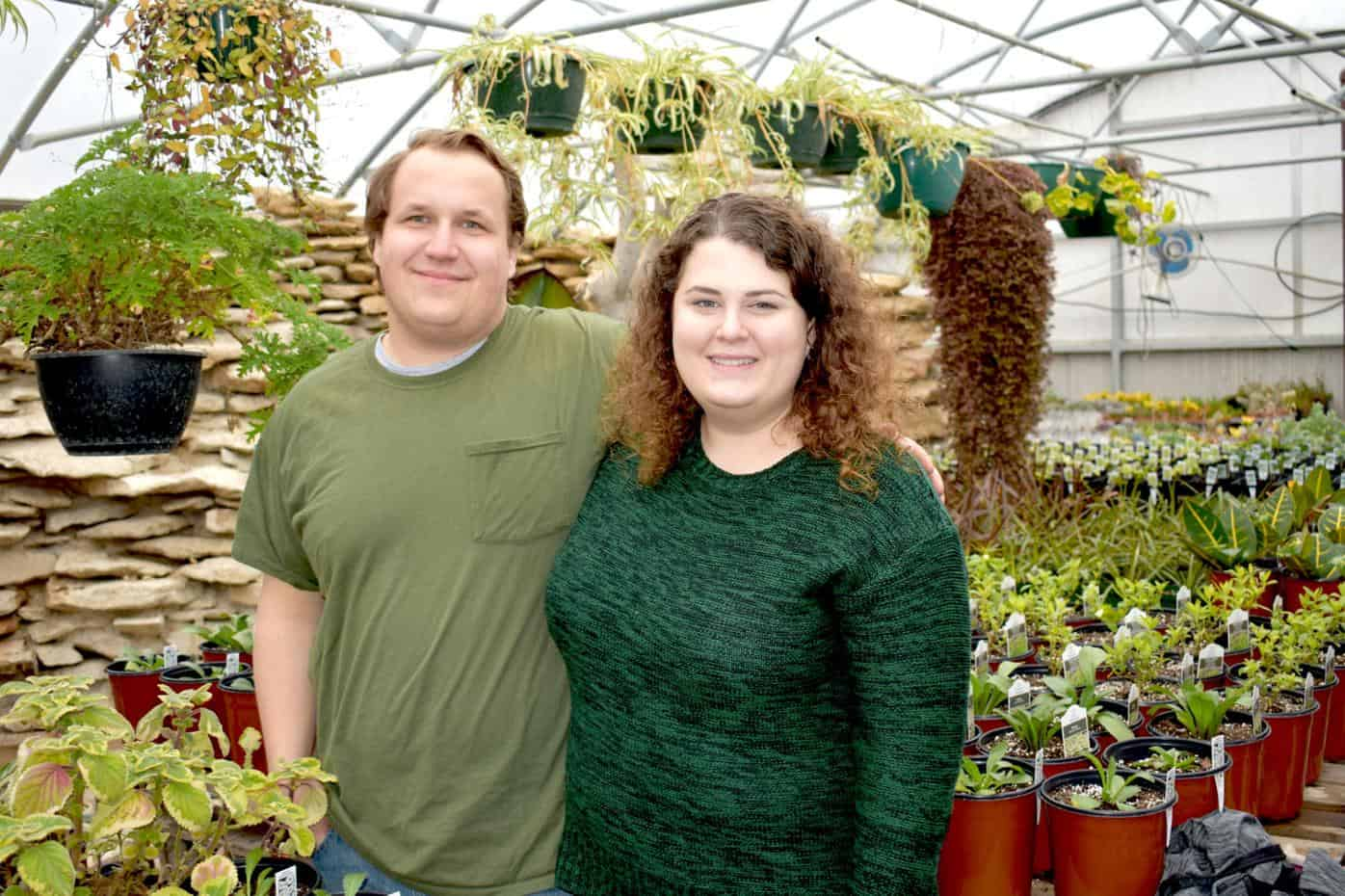 Kelsey Bowlin and Tim Janaousek, Owners of the Plant House in Maryville, MO.  Photo by Skye Pournazari of the Maryville Forum